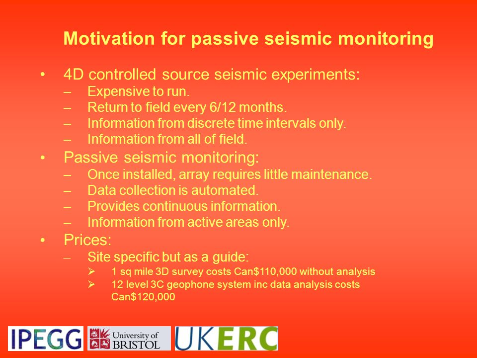 Motivation for passive seismic monitoring