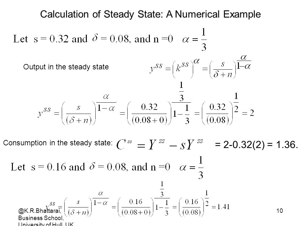 Calculation of Steady State: A Numerical Example