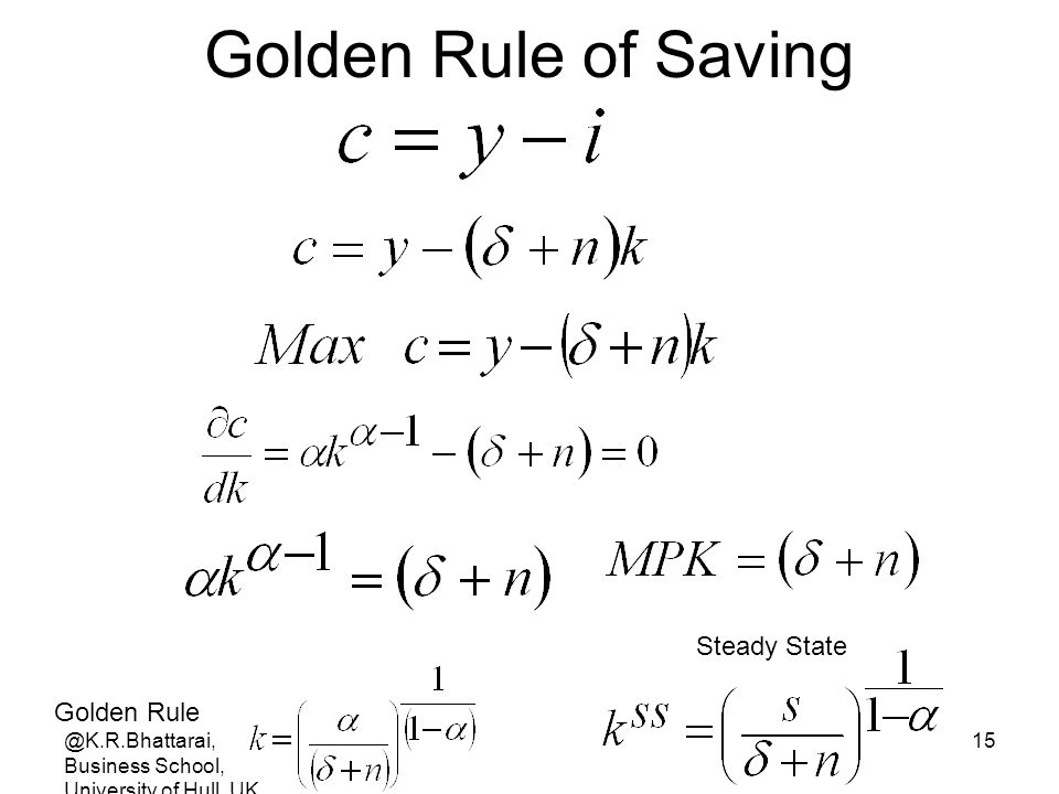 Golden Rule of Saving Steady State Golden Rule