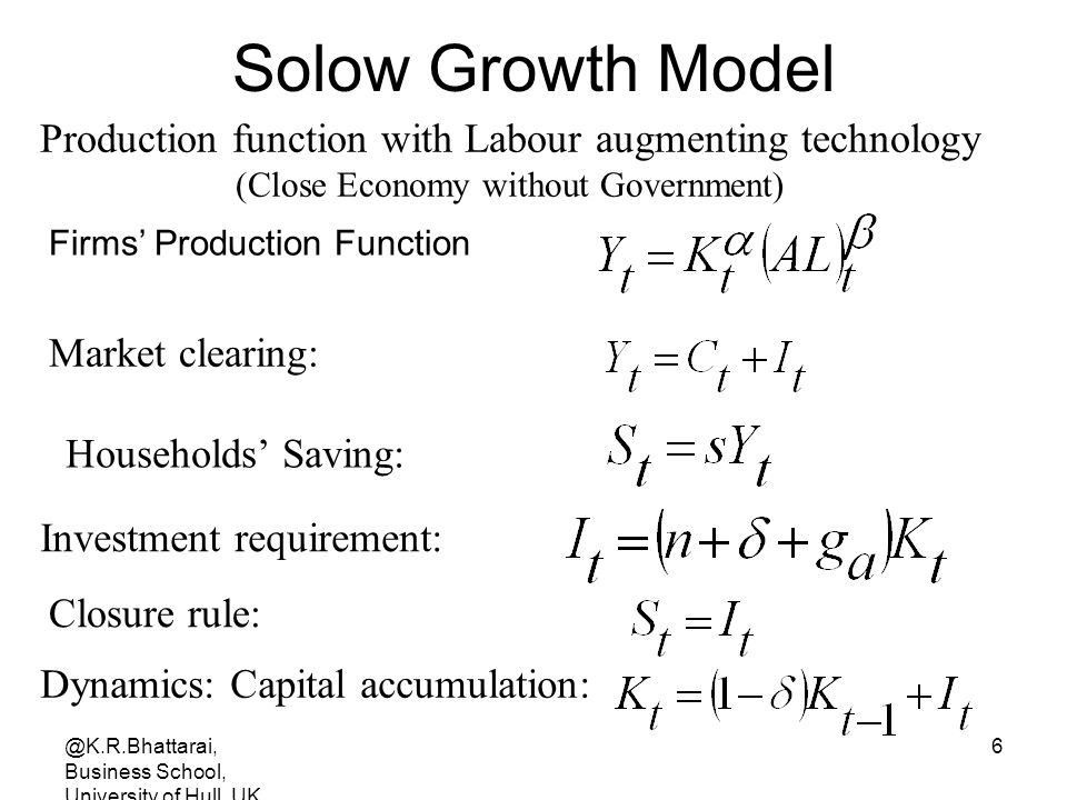 Solow Growth Model Production function with Labour augmenting technology. (Close Economy without Government)