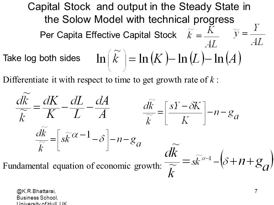 Capital Stock and output in the Steady State in the Solow Model with technical progress