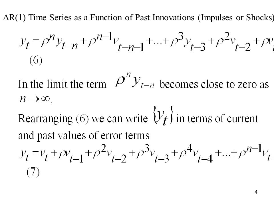 AR(1) Time Series as a Function of Past Innovations (Impulses or Shocks)