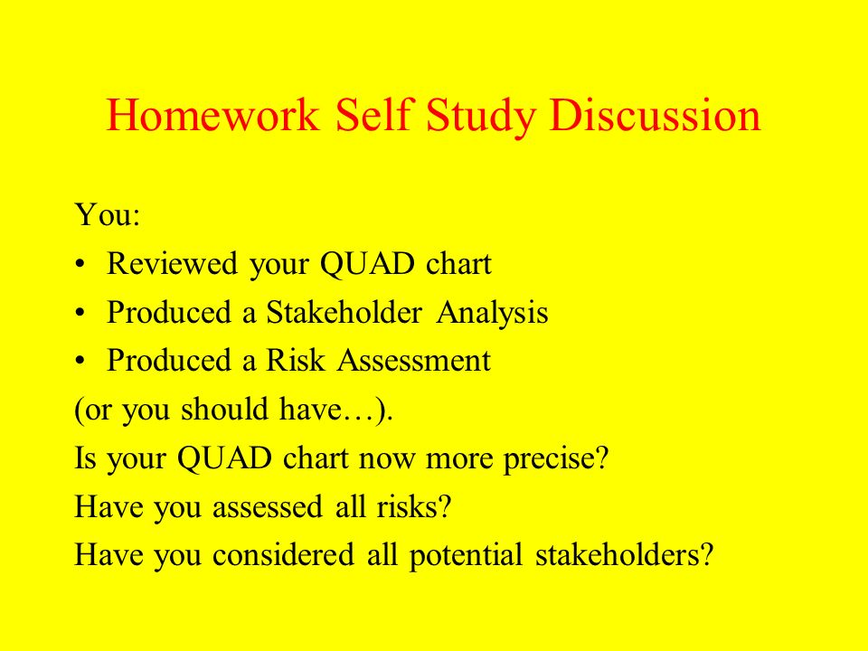 Homework Self Study Discussion