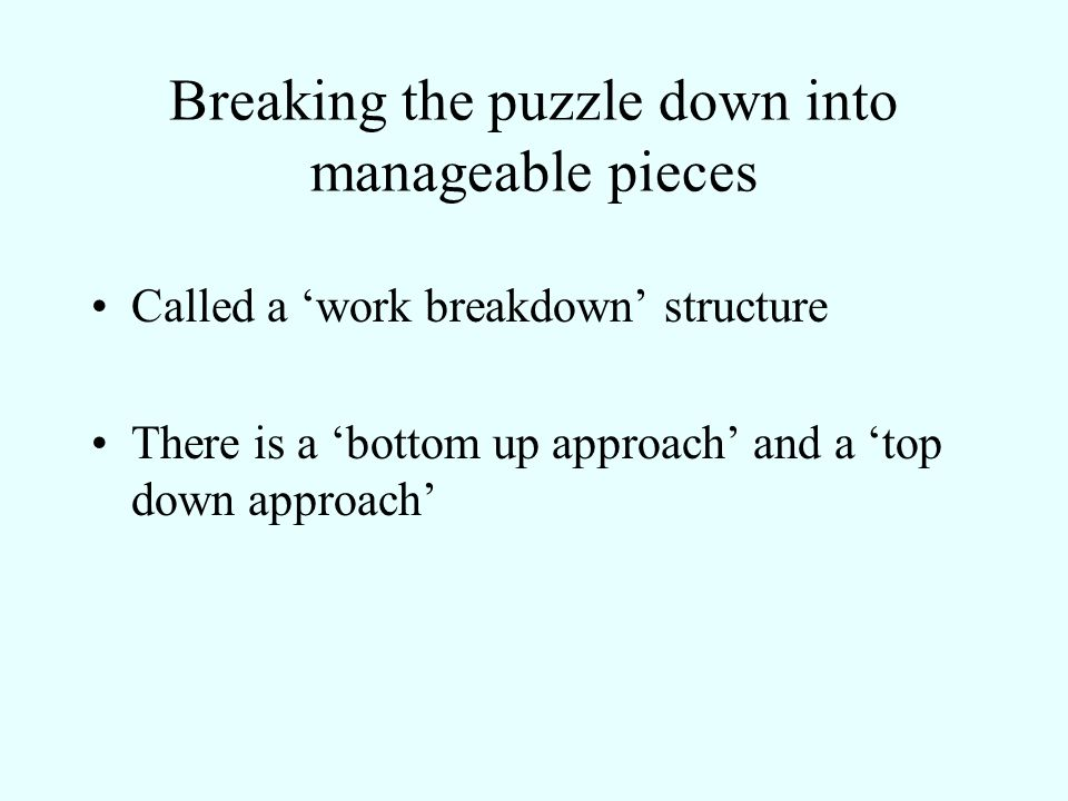Breaking the puzzle down into manageable pieces