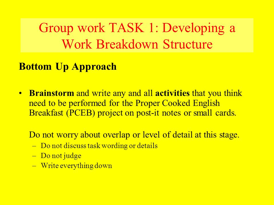Group work TASK 1: Developing a Work Breakdown Structure