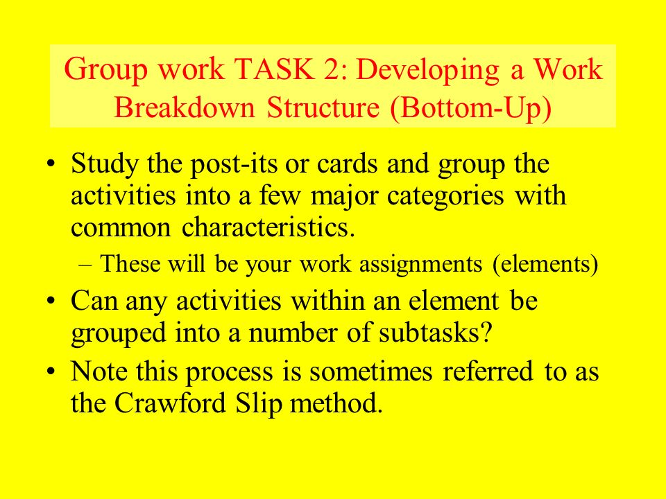 Group work TASK 2: Developing a Work Breakdown Structure (Bottom-Up)