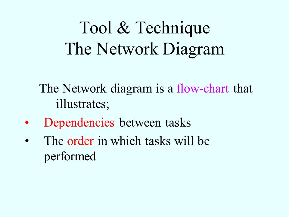 Tool & Technique The Network Diagram