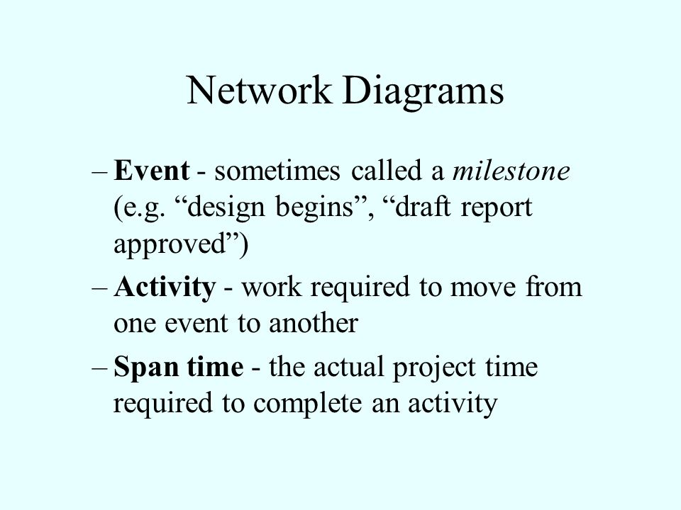 Network Diagrams Event - sometimes called a milestone (e.g. design begins , draft report approved )