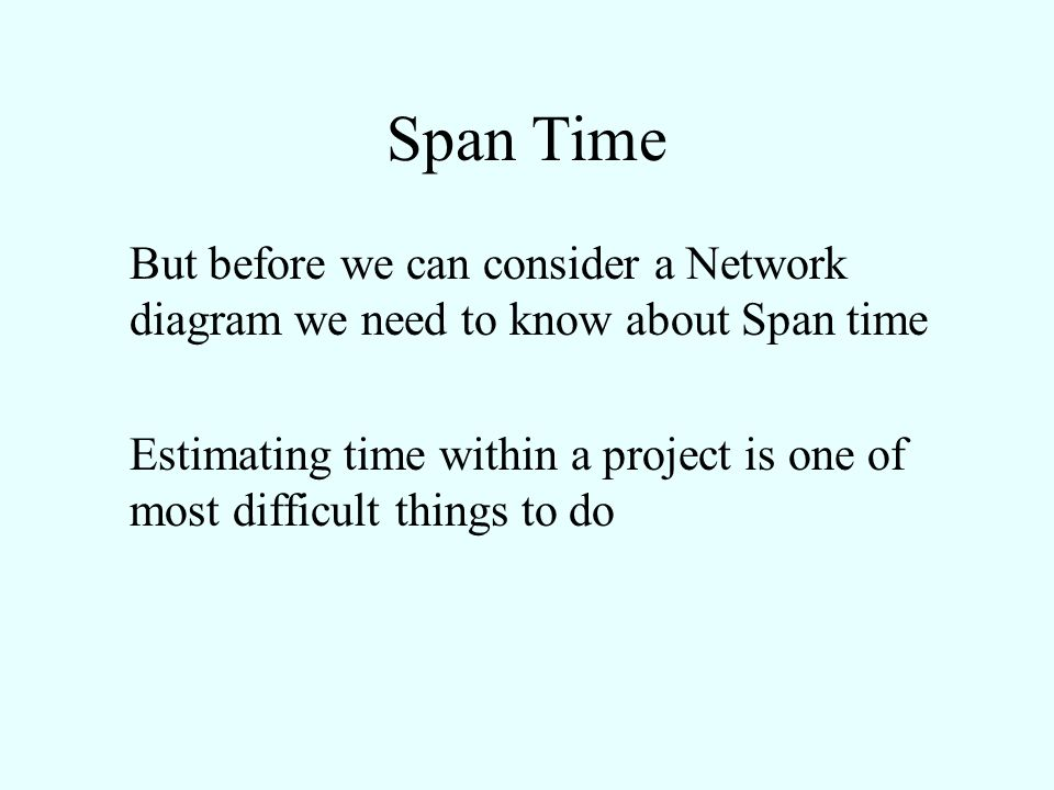Span Time But before we can consider a Network diagram we need to know about Span time.