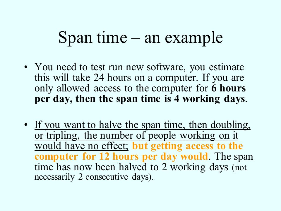 Span time – an example