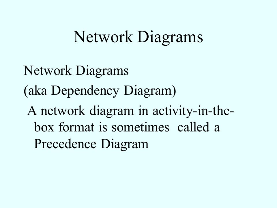 Network Diagrams Network Diagrams (aka Dependency Diagram)