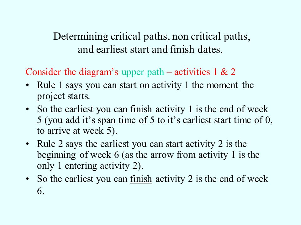 Determining critical paths, non critical paths, and earliest start and finish dates.