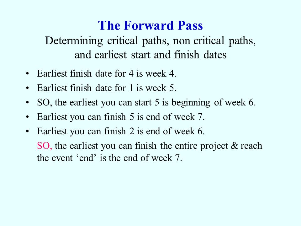 The Forward Pass Determining critical paths, non critical paths, and earliest start and finish dates