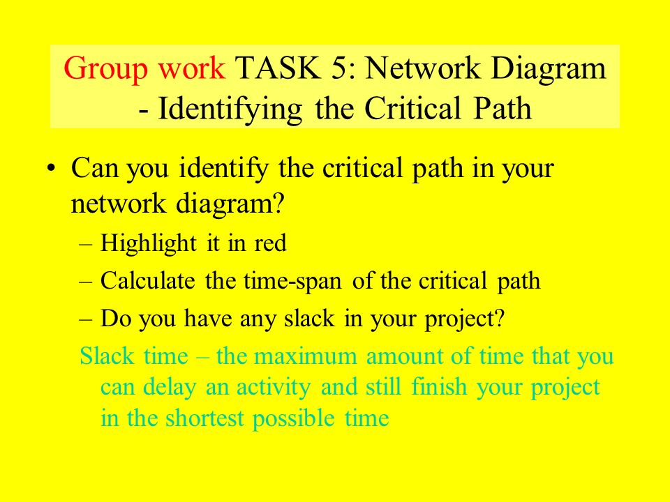 Group work TASK 5: Network Diagram - Identifying the Critical Path
