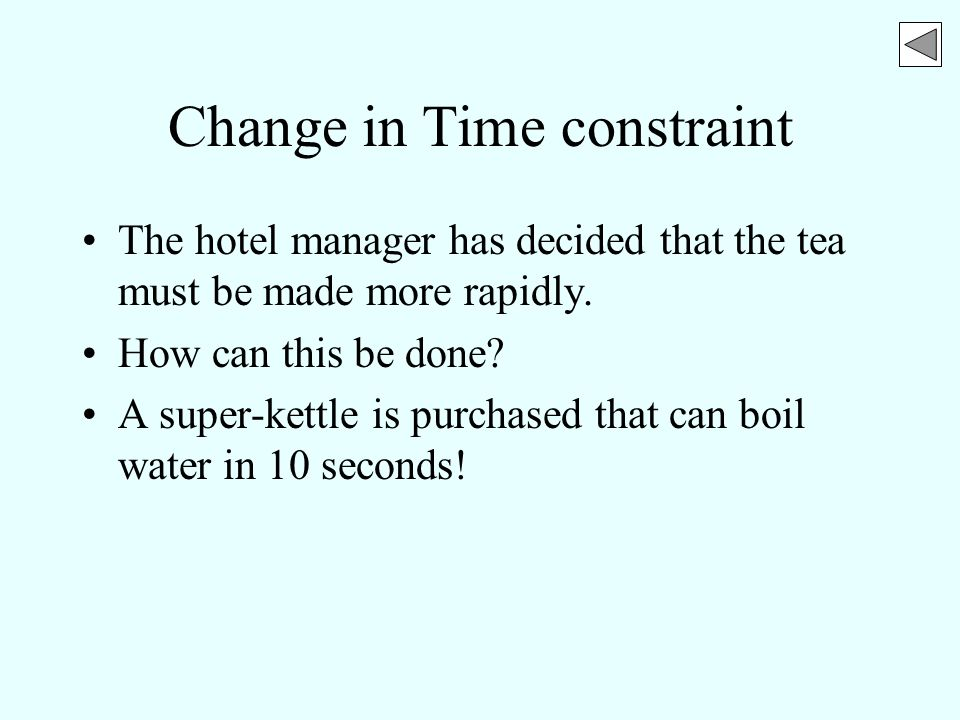 Change in Time constraint