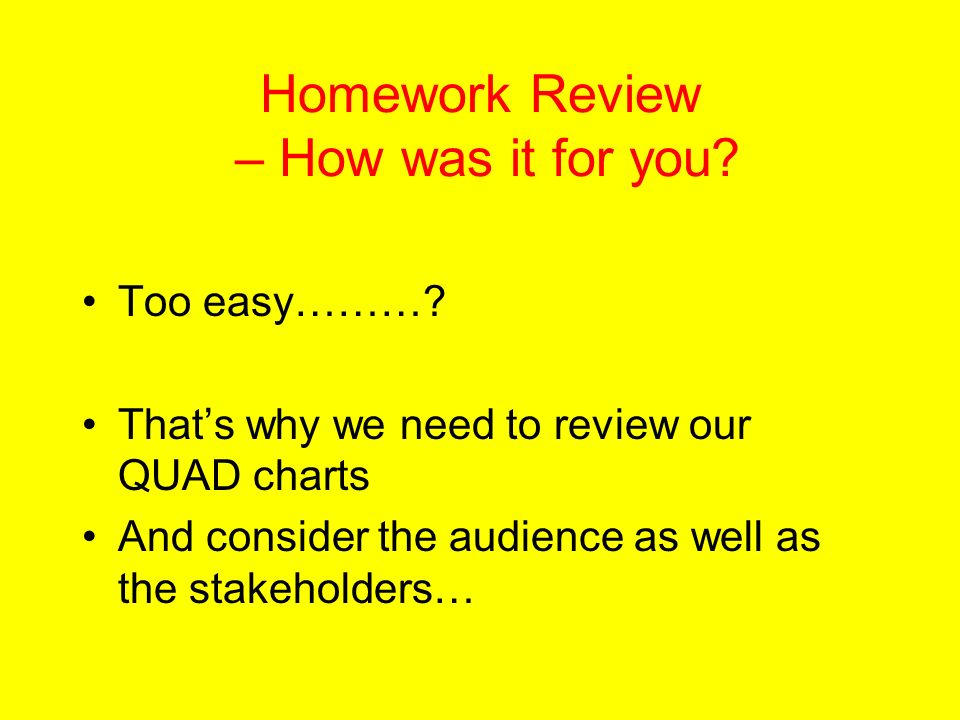 Homework Review – How was it for you