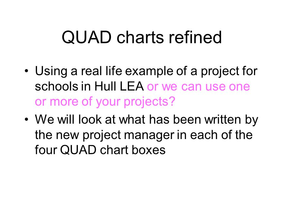 QUAD charts refined Using a real life example of a project for schools in Hull LEA or we can use one or more of your projects