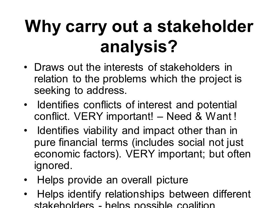 Why carry out a stakeholder analysis