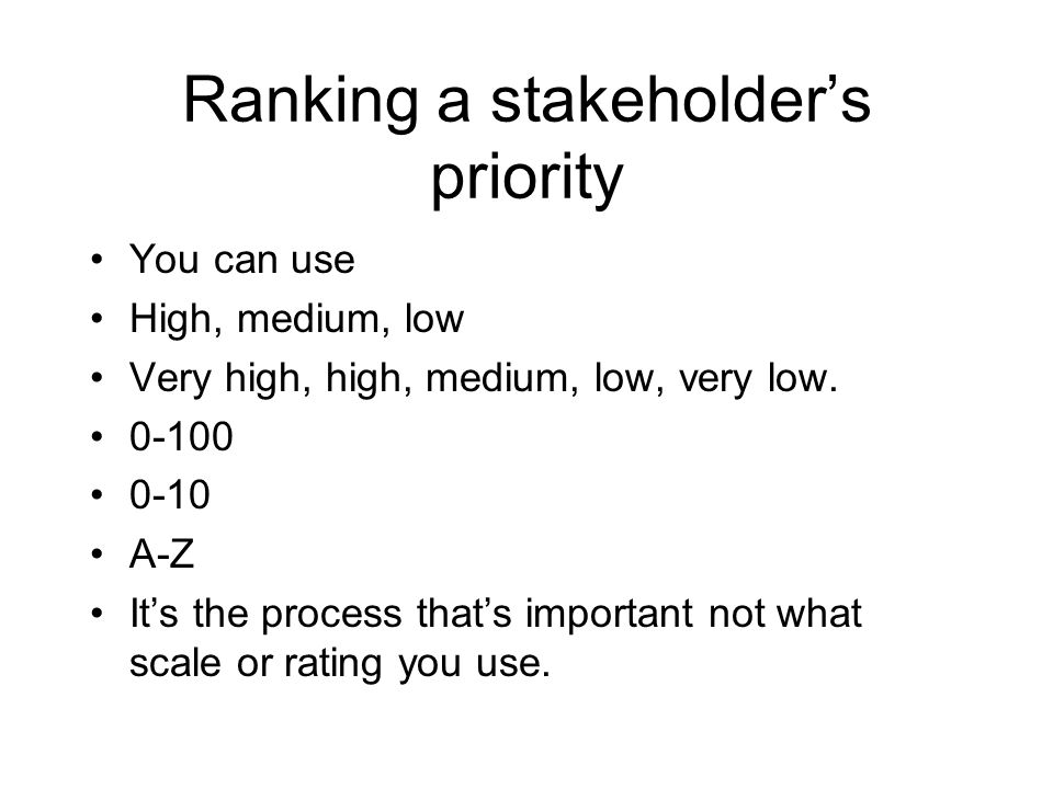Ranking a stakeholder's priority