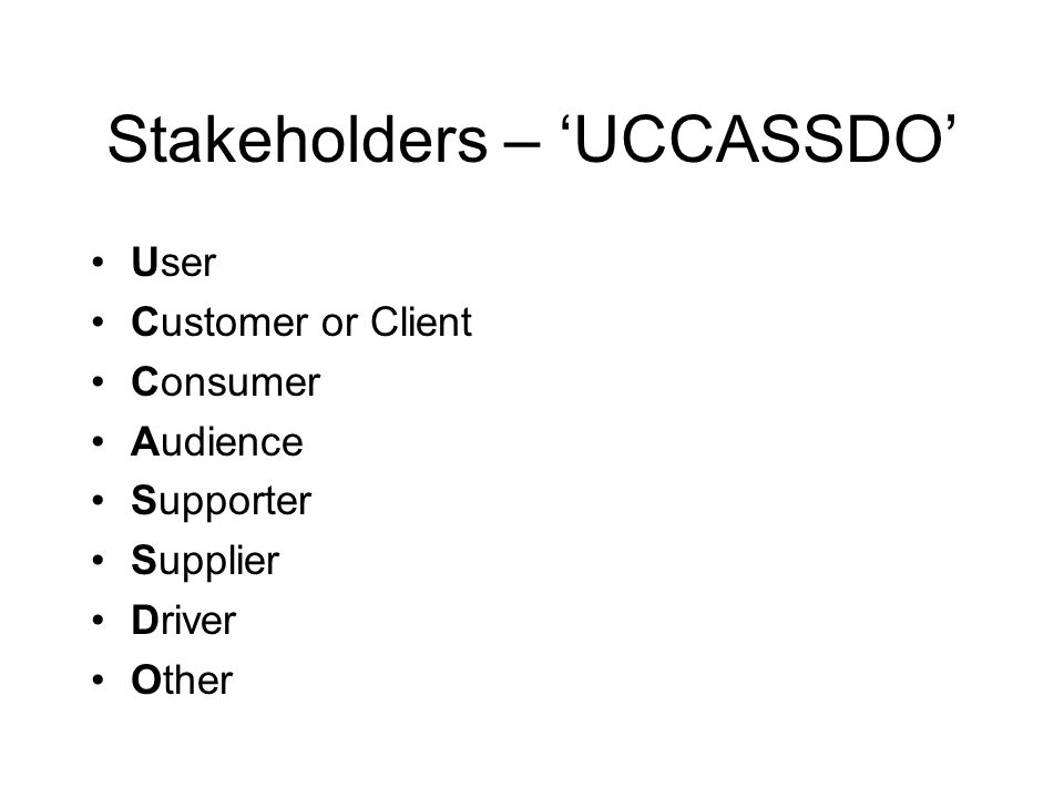 Stakeholders – 'UCCASSDO'