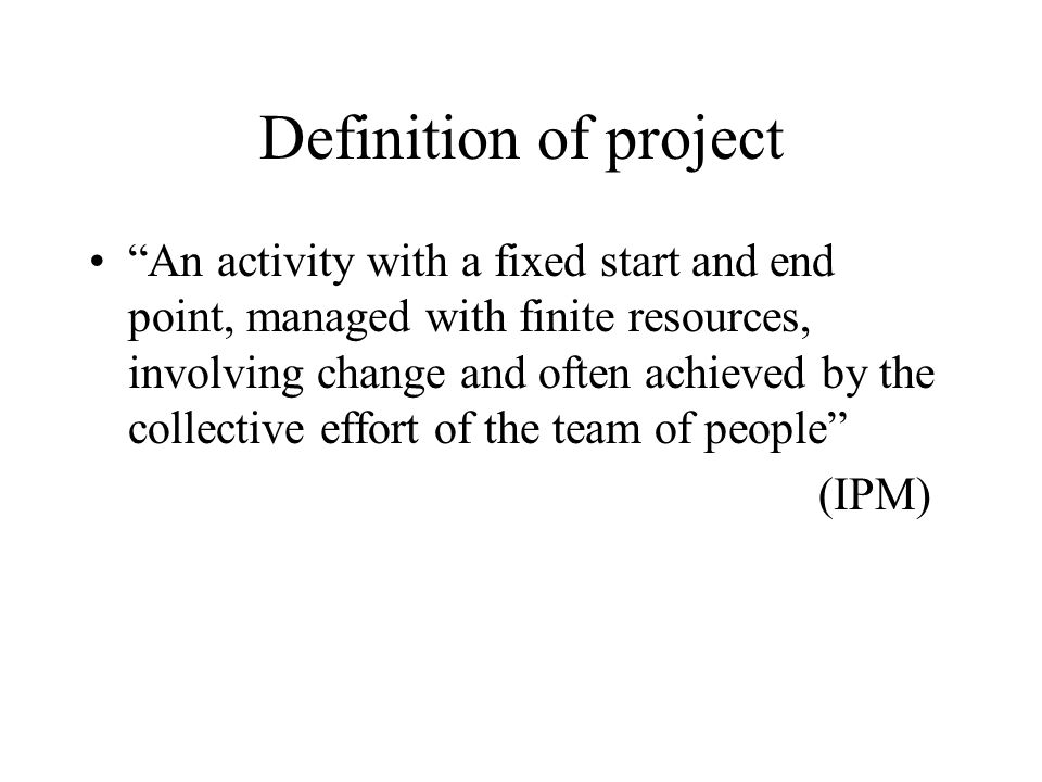 Definition of project