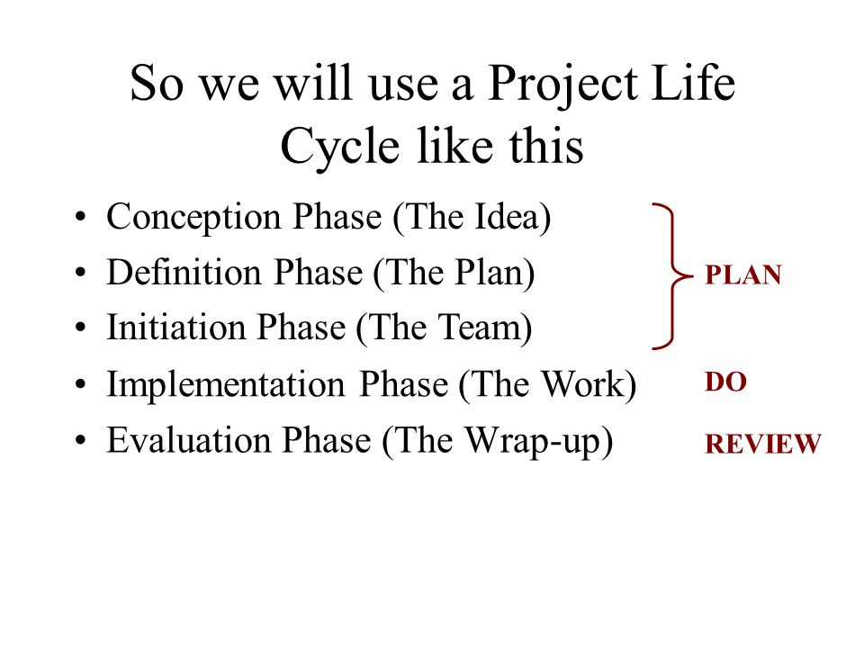 So we will use a Project Life Cycle like this