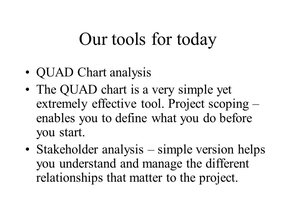 Our tools for today QUAD Chart analysis