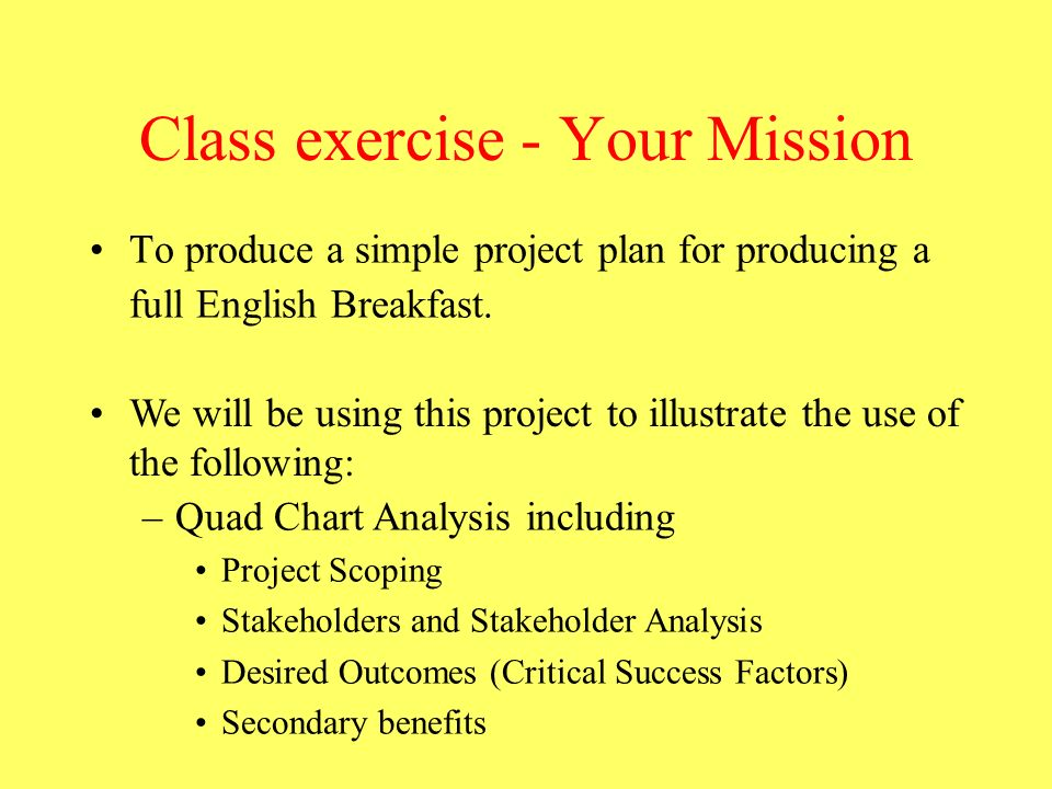Class exercise - Your Mission