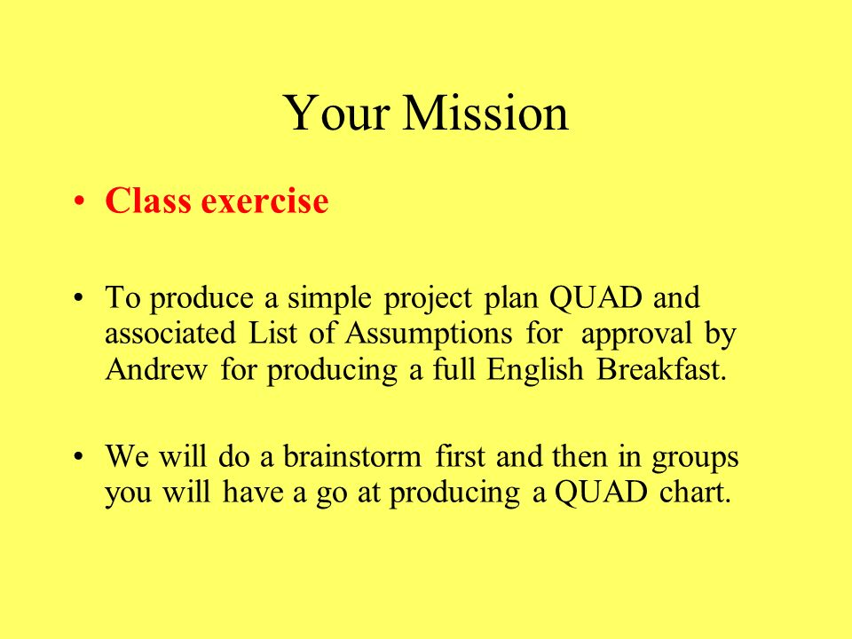 Your Mission Class exercise
