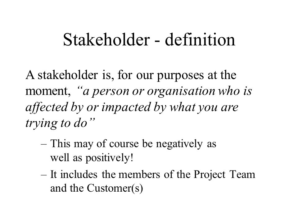Stakeholder - definition