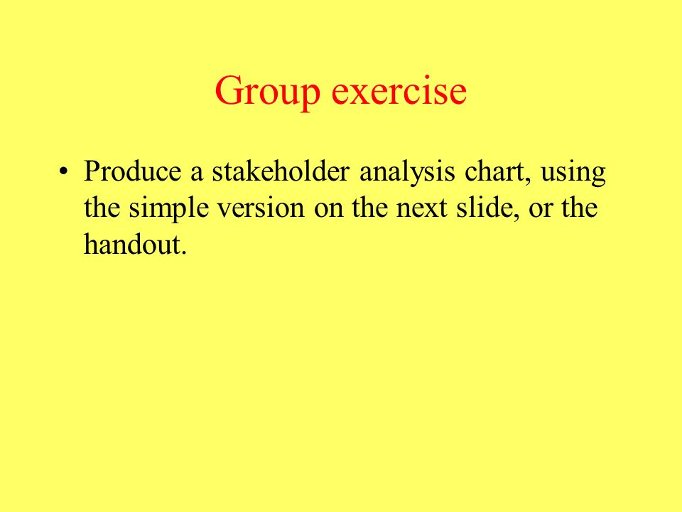 Group exercise Produce a stakeholder analysis chart, using the simple version on the next slide, or the handout.