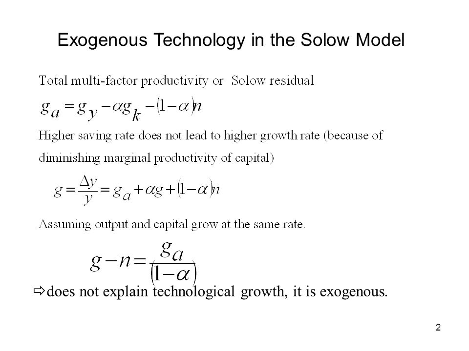 Exogenous Technology in the Solow Model
