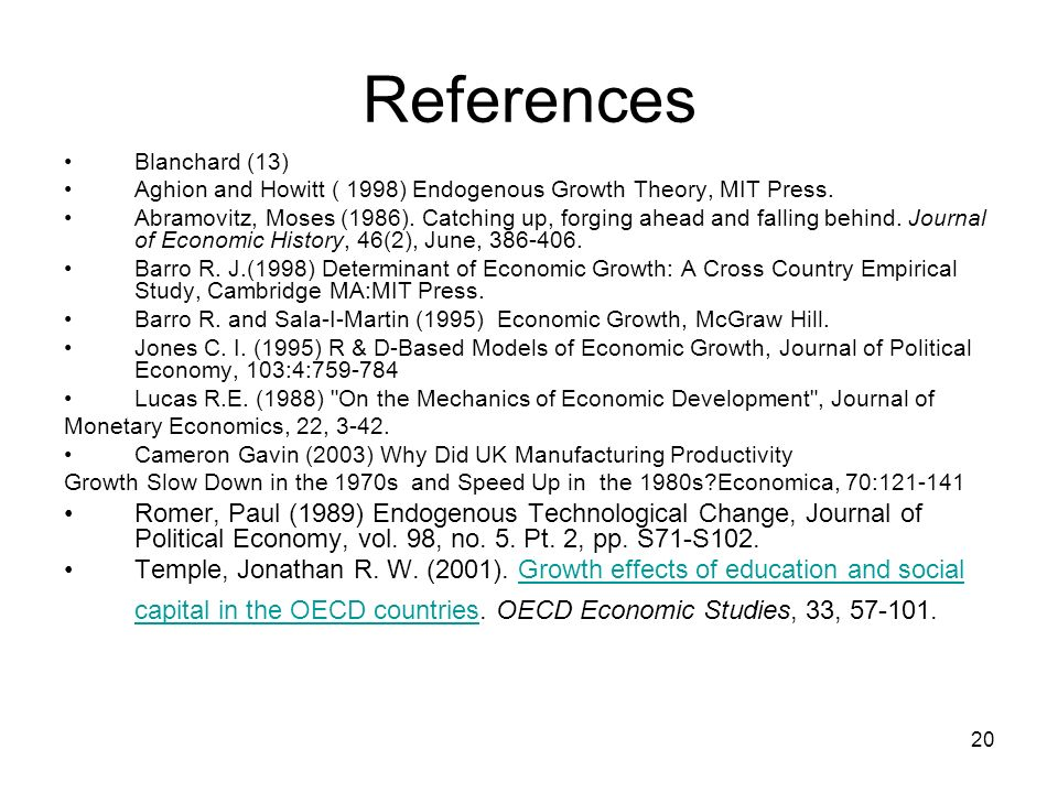 References Blanchard (13) Aghion and Howitt ( 1998) Endogenous Growth Theory, MIT Press.