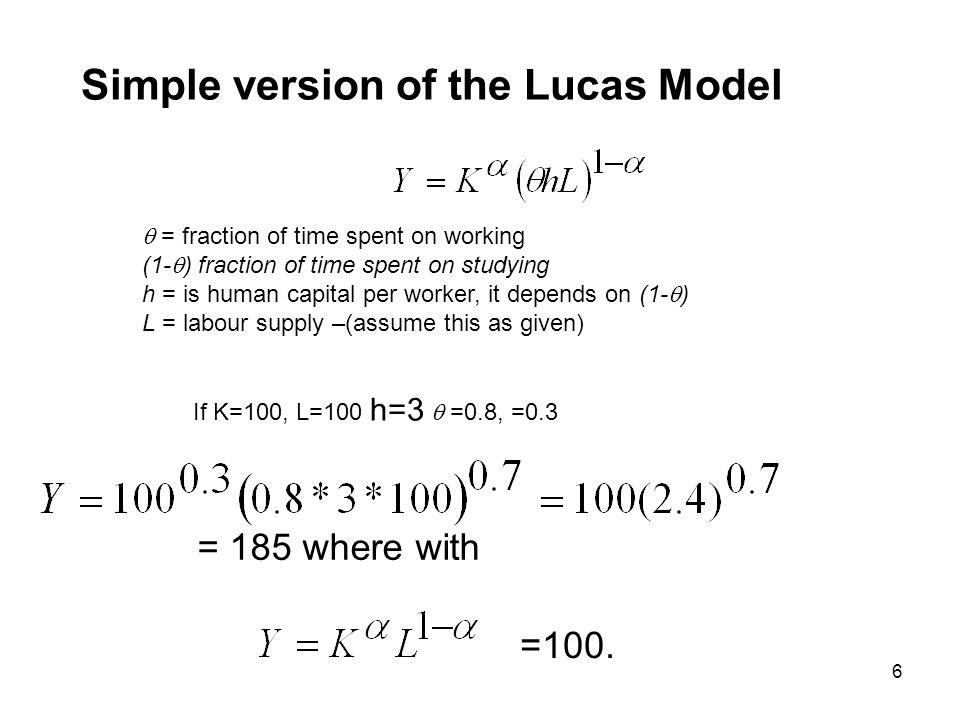 Simple version of the Lucas Model