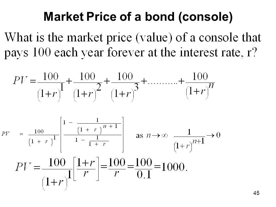 Market Price of a bond (console)