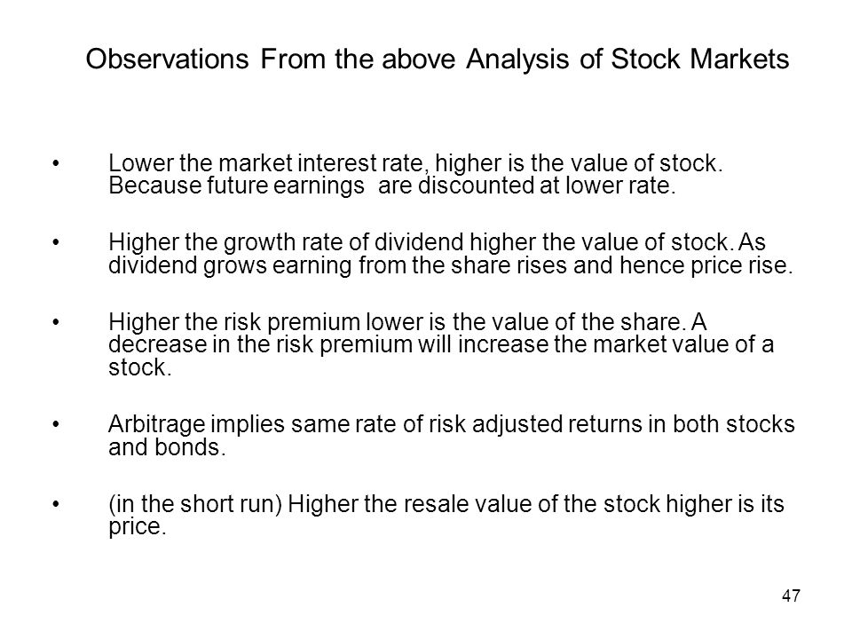 Observations From the above Analysis of Stock Markets