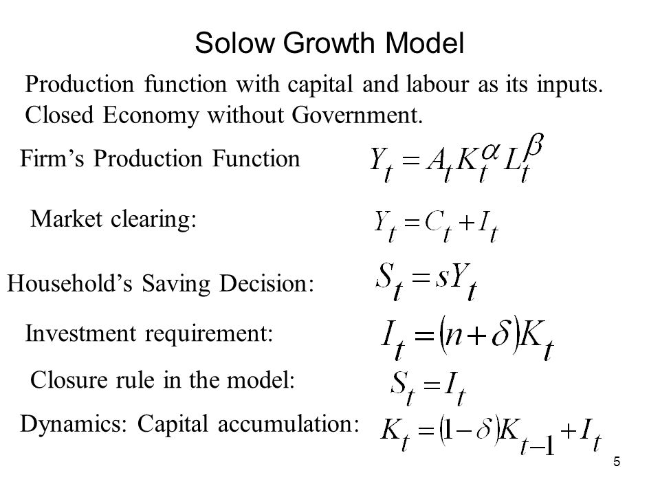 Solow Growth Model Production function with capital and labour as its inputs. Closed Economy without Government.