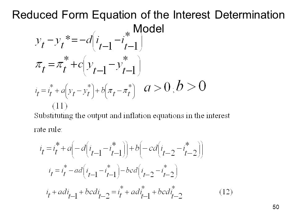 Reduced Form Equation of the Interest Determination Model