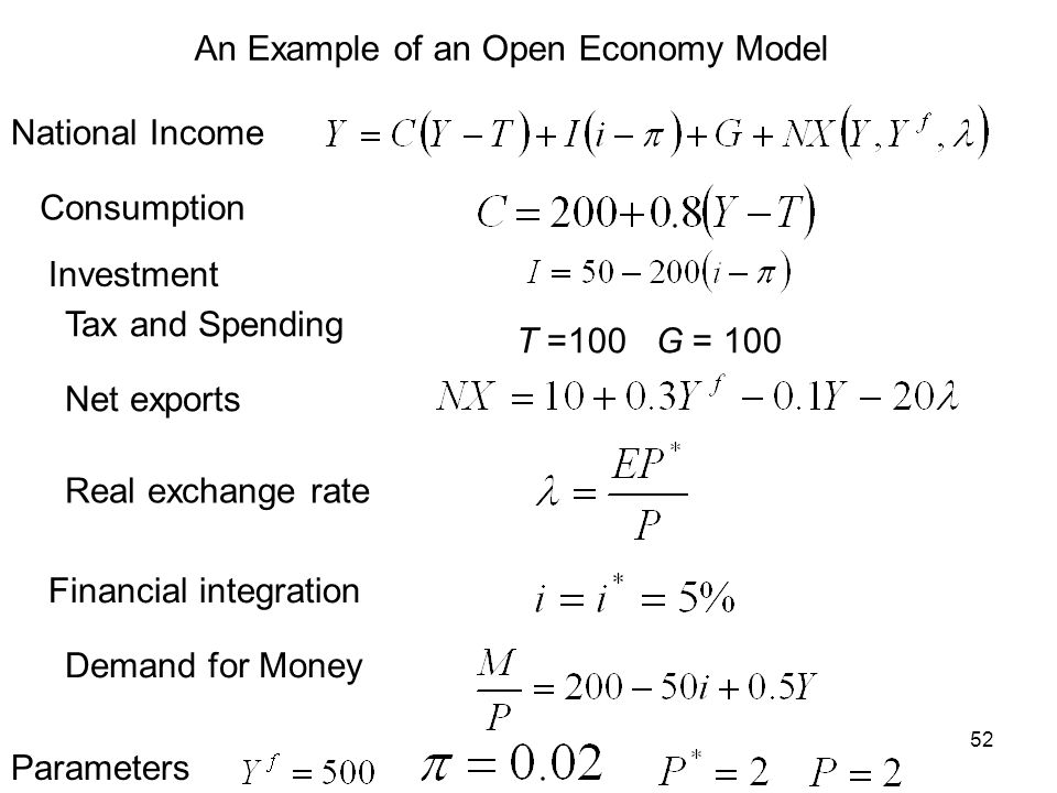 An Example of an Open Economy Model
