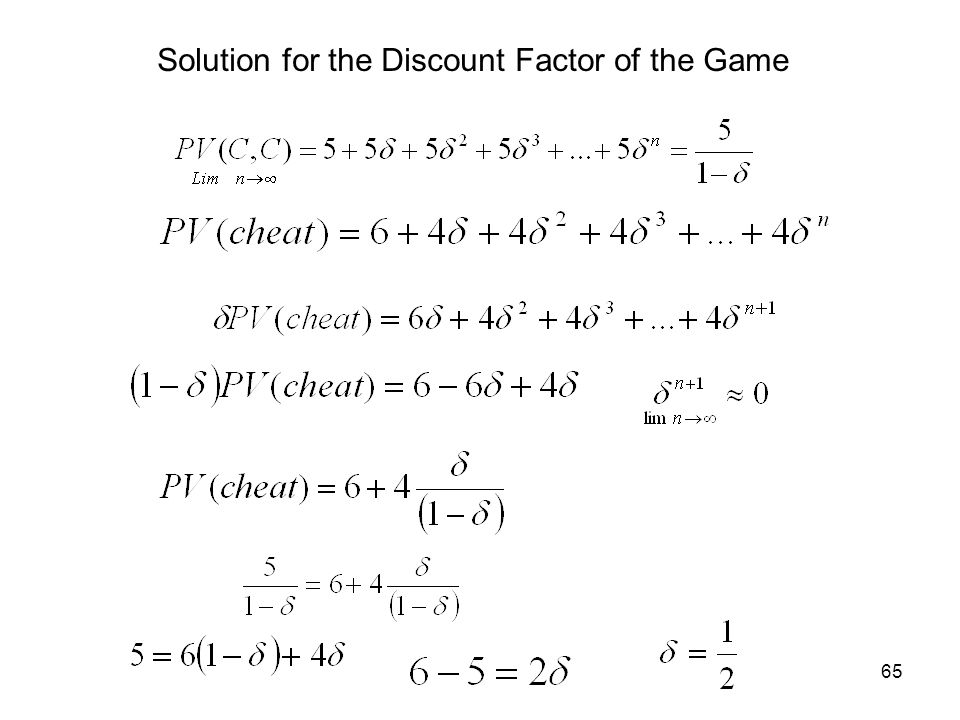 Solution for the Discount Factor of the Game
