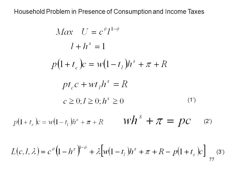 Household Problem in Presence of Consumption and Income Taxes