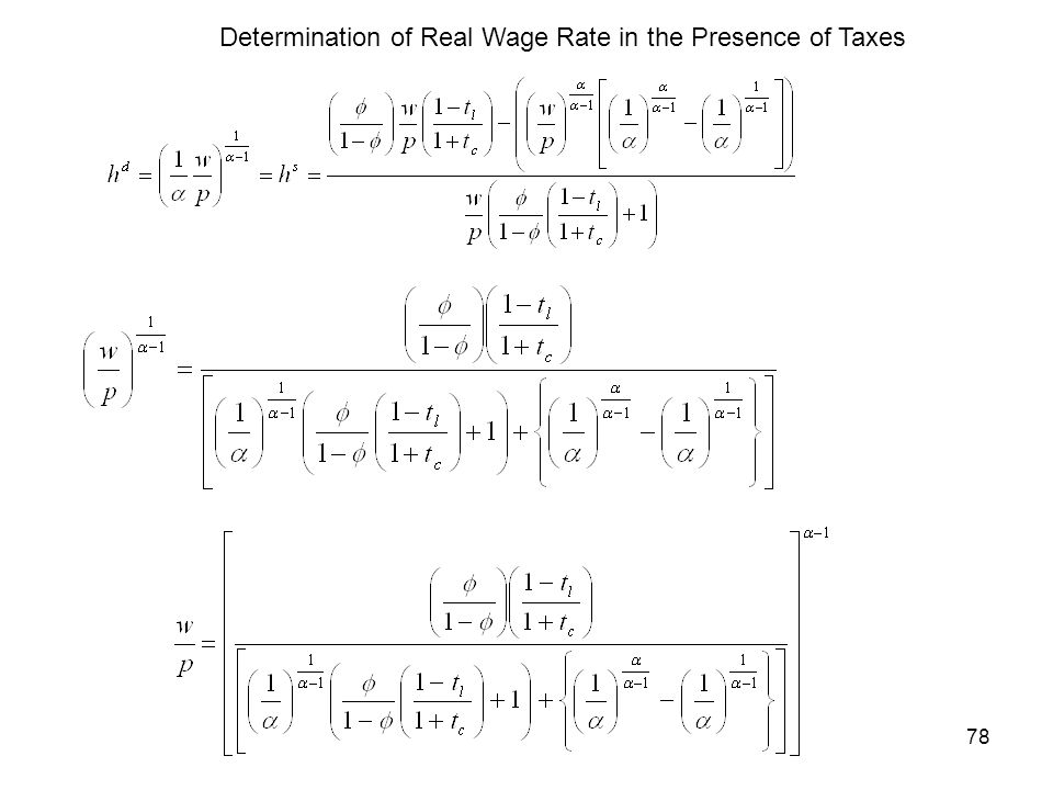 Determination of Real Wage Rate in the Presence of Taxes