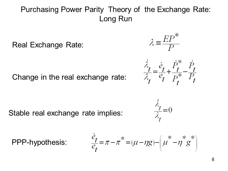 Purchasing Power Parity Theory of the Exchange Rate: Long Run