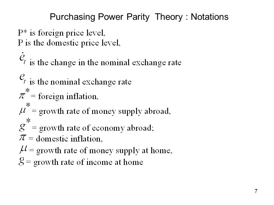 Purchasing Power Parity Theory : Notations