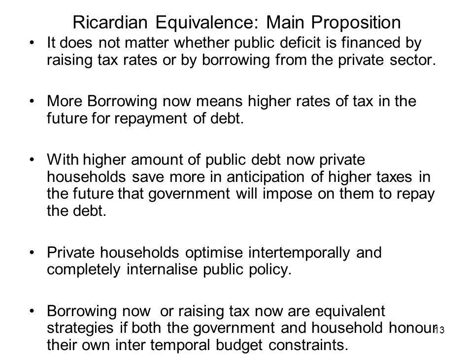 Ricardian Equivalence: Main Proposition