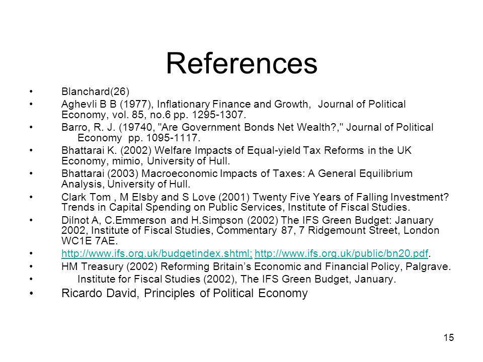 References Ricardo David, Principles of Political Economy