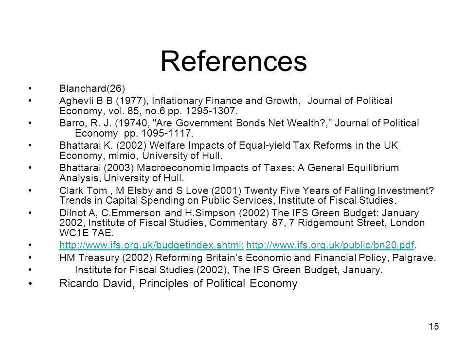 References Ricardo David, Principles of Political Economy