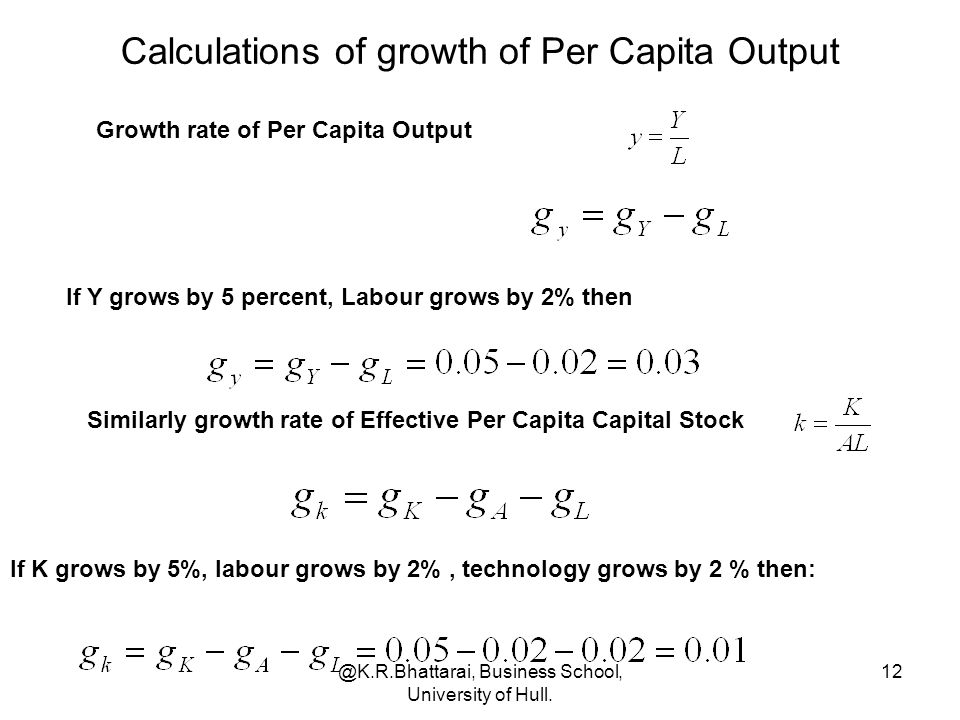 Calculations of growth of Per Capita Output