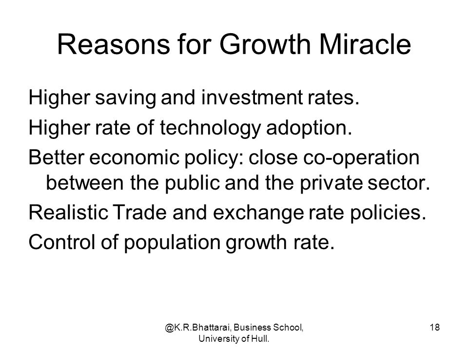 Reasons for Growth Miracle