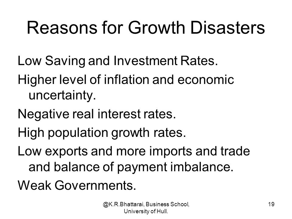 Reasons for Growth Disasters